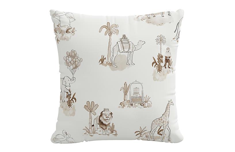 Toile 20x20 Pillow, Tan