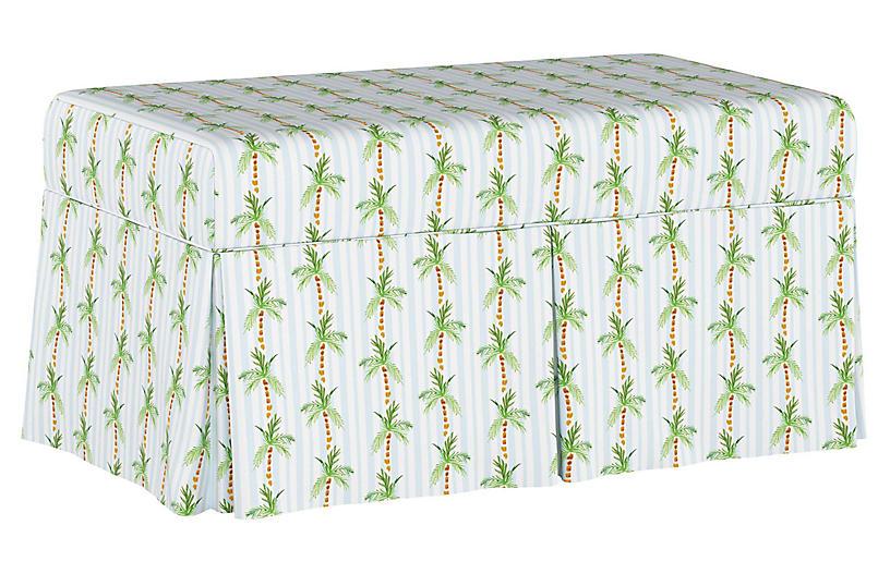 Palm Tree Stripe Storage Bench, Blue