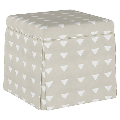 Anne Skirted Storage Ottoman, Natural Triangle