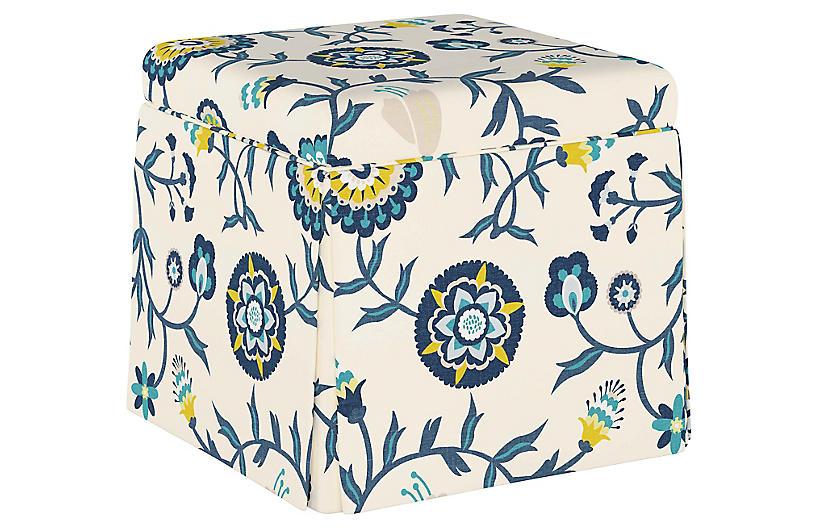 Anne Skirted Storage Ottoman, Cali Floral