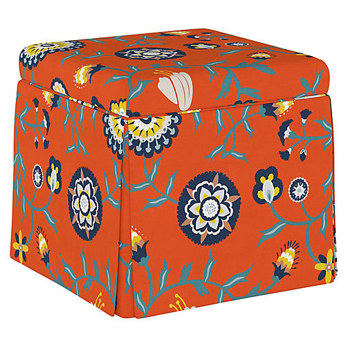 Anne Skirted Storage Ottoman, Persimmon Floral