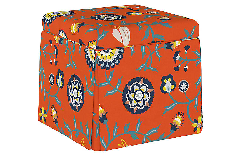 Superb Anne Skirted Storage Ottoman Persimmon Floral Gmtry Best Dining Table And Chair Ideas Images Gmtryco