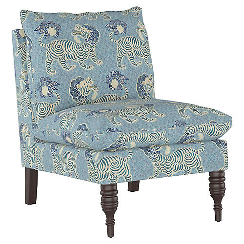 Daphne Slipper Chair, Blue Lion