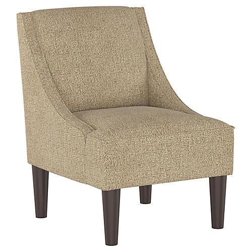 Quinn Swoop-Arm Chair, Almond