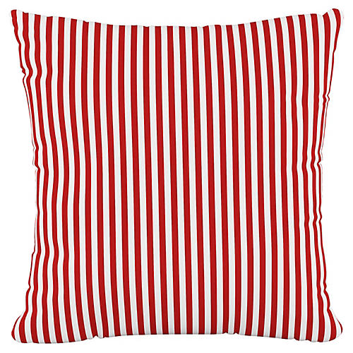 Further 20x20 Pillow, Candy Stripe Red