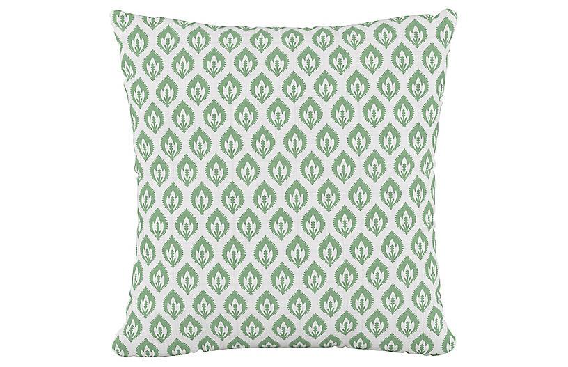 Elliot Floral 20x20 Pillow, Sage/White