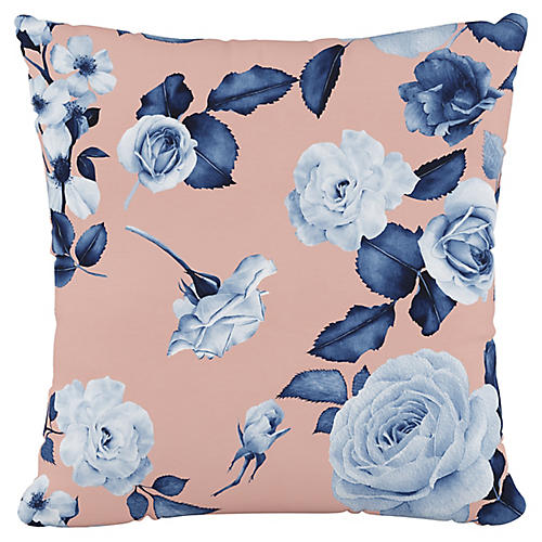 Mellow Floral 20x20 Pillow, Blush/Navy