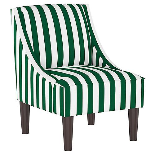 Quinn Swoop-Arm Chair, Green Stripe