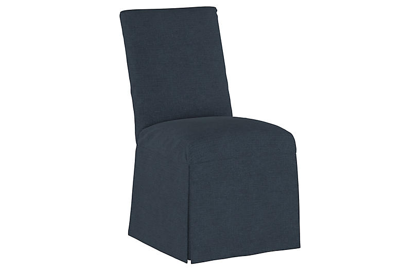 Owen Slipcover Side Chair, Navy Linen