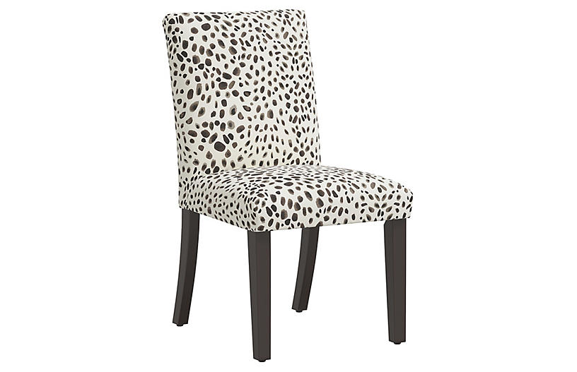 Shannon Side Chair, Cream/Gray Cheetah