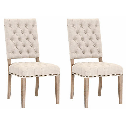 S/2 Marlow Side Chairs, Bisque Linen