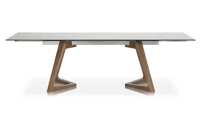 Axel Extension Dining Table, Smoke Gray