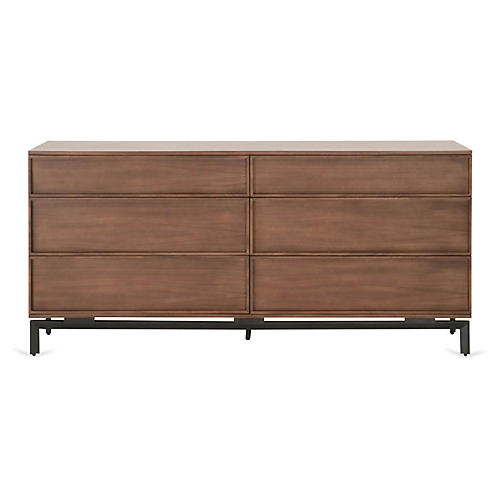 Wallner Double Dresser, Walnut/Black