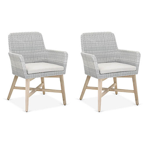 S/2 Avilia Outdoor Side Chairs, Ice/Pumice
