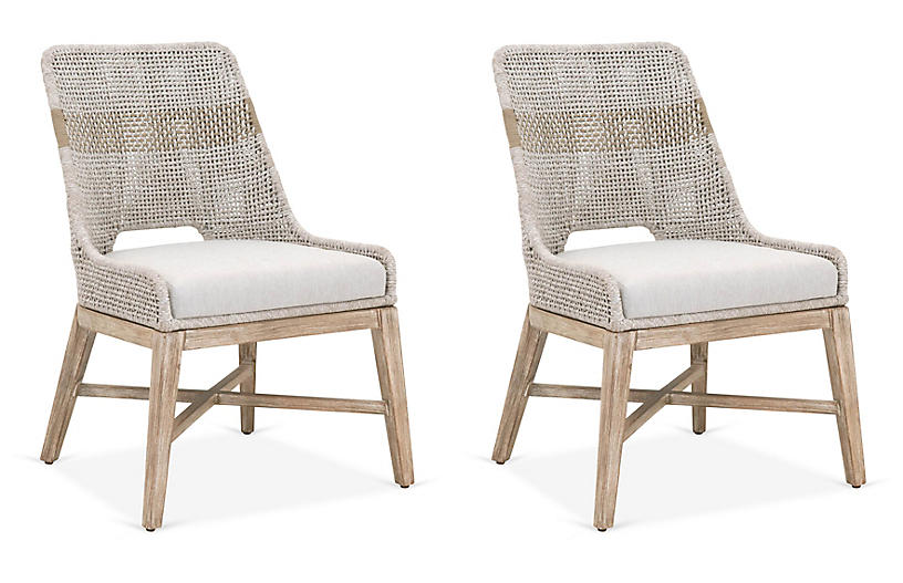 S/2 Arras Side Chairs, Taupe/White