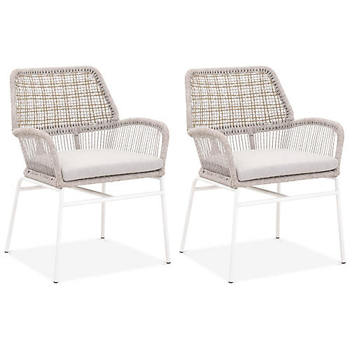 S/2 Clare Outdoor Armchairs, Light Gray