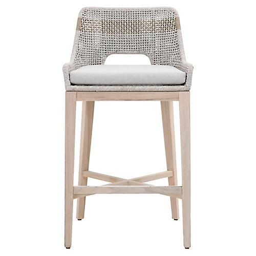Tapestry Outdoor Barstool, Taupe/Natural