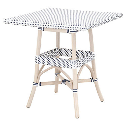 Caen Outdoor Dining Table, White/Blue