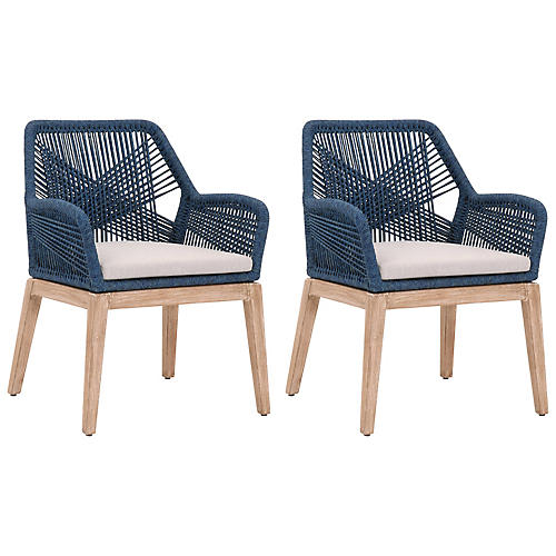 S/2 Easton Armchairs, Indigo