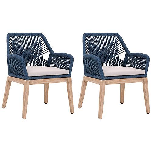 S/2 Easton Armchairs, Indigo