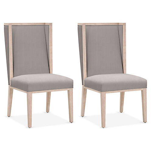 S/2 Armel Wingback Side Chairs, Slate