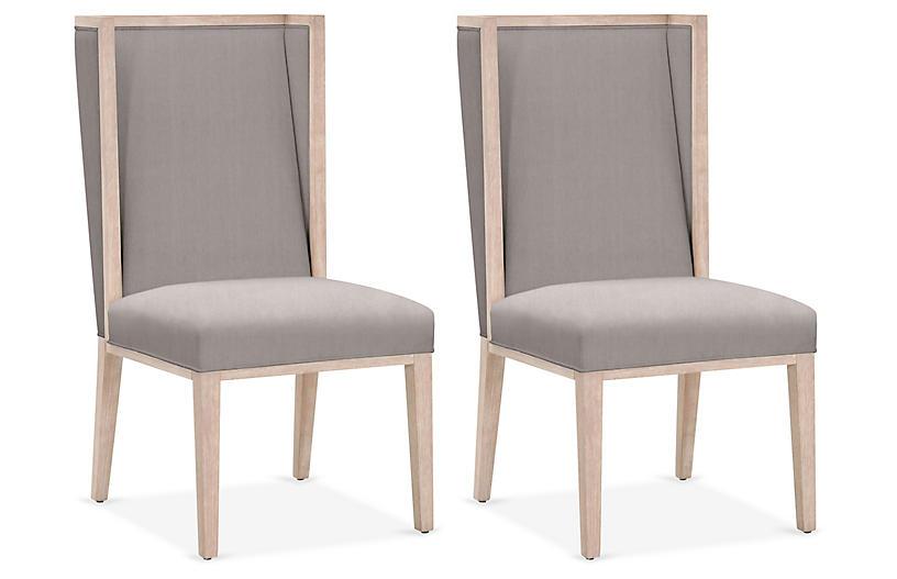 S/2 Armel Wingback Side Chairs, Slate
