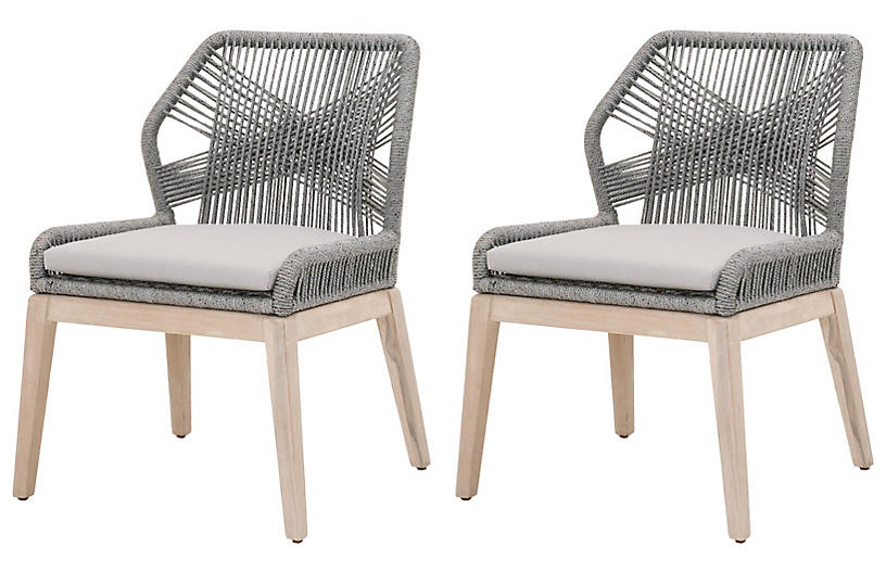 S/2 Easton Outdoor Rope Side Chairs, Platinum/Gray