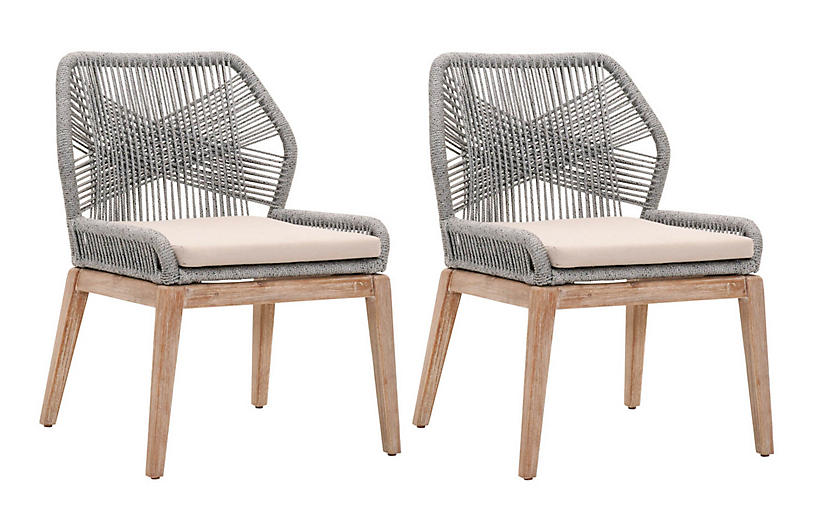 S/2 Easton Rope Side Chairs, Platinum/Light Gray