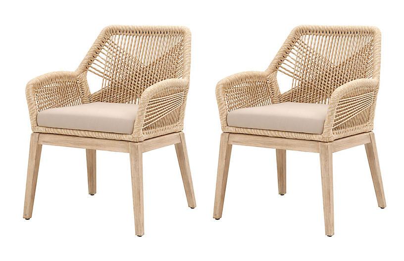 S/2 Easton Armchairs, Sand/Light Gray
