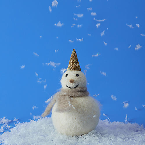 """6"""" Snowman in Hat Accent, White/Silver"""