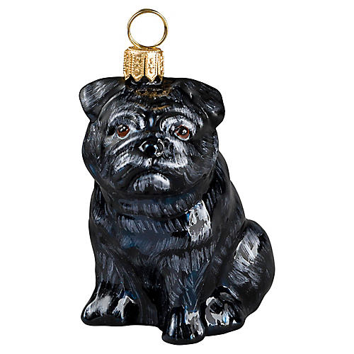 Pug Ornament, Black