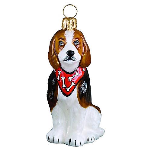 Beagle Ornament, White/Brown