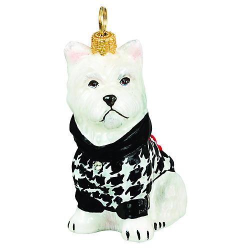 Westie Ornament, White/Black