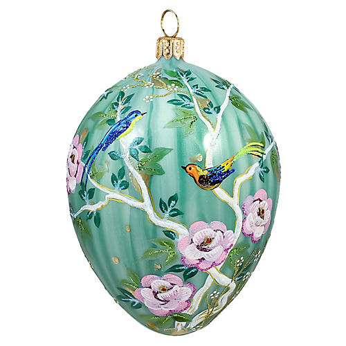 Chinoiserie Jeweled Egg Ornament, Green