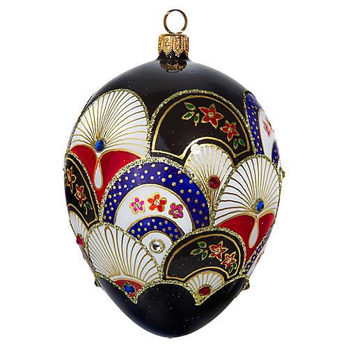 Japanese Fan Jeweled Egg Ornament, Black/Multi