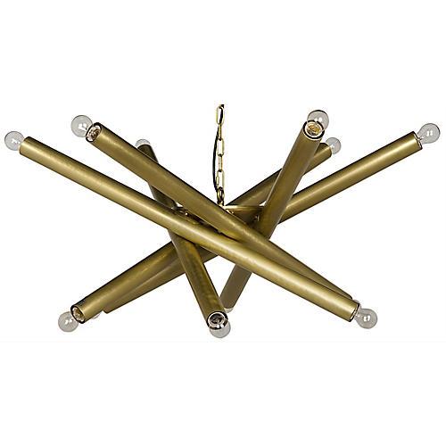 Lex Chandelier, Antiqued Brass