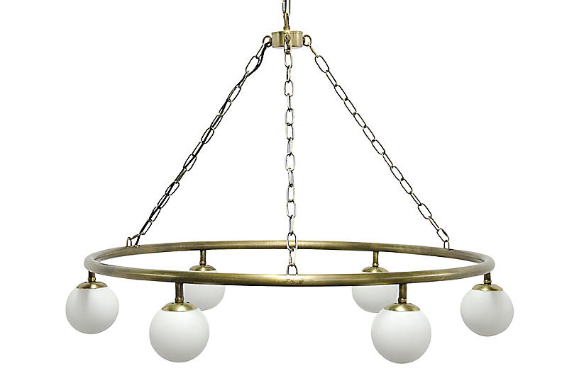 Modena Chandelier, Antiqued Brass/White