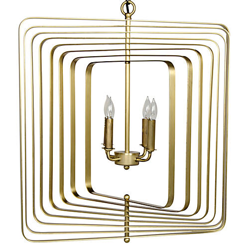 Dimaclema Small Chandelier, Antiqued Brass