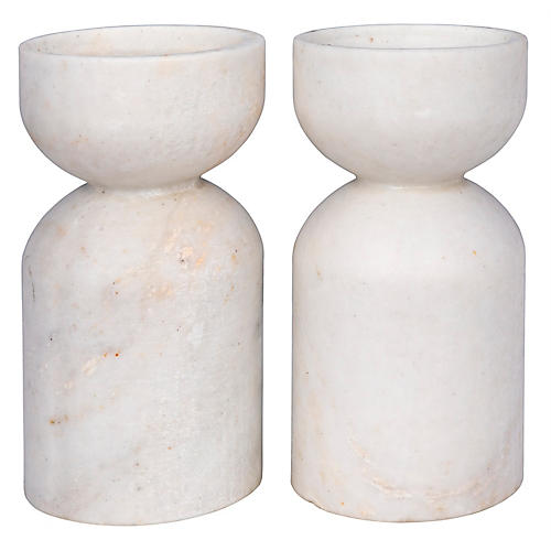 S/2 Elias Marble Candleholders, White