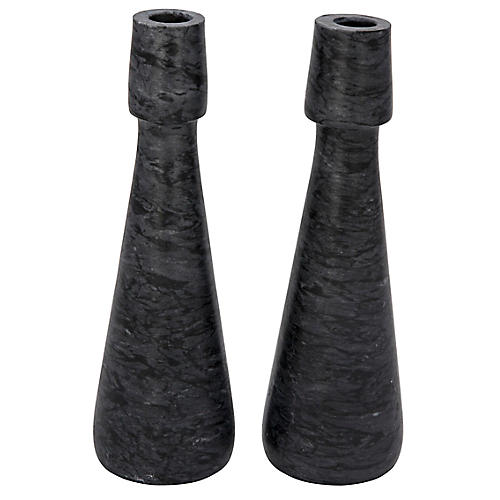 S/2 Mitros Marble Candleholders, Black