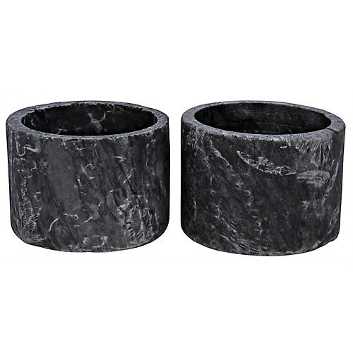 S/2 Syma Marble Candleholders, Black