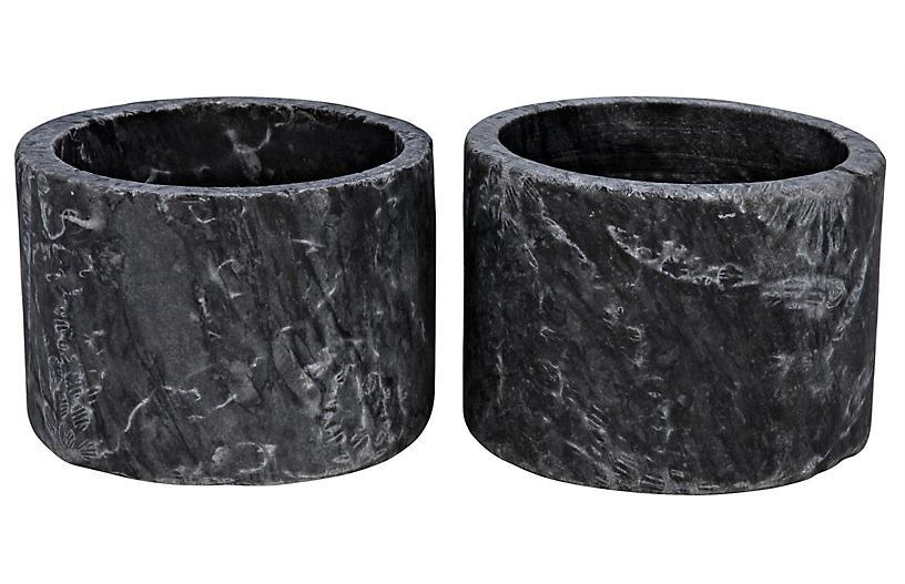 S/2 Syma Marble Candleholders, Black