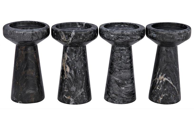 S/4 Aleka Marble Candleholders, Black