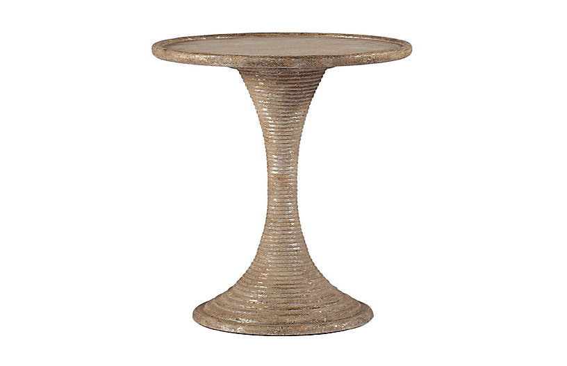 Gloria Side Table, Antiqued Gold Leaf