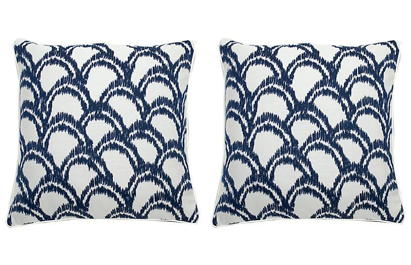 S/2 Alena Outdoor Pillows, Indigo