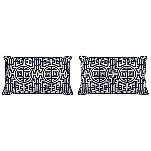 S/2 Nobu Outdoor Lumbar Pillows, Indigo/White