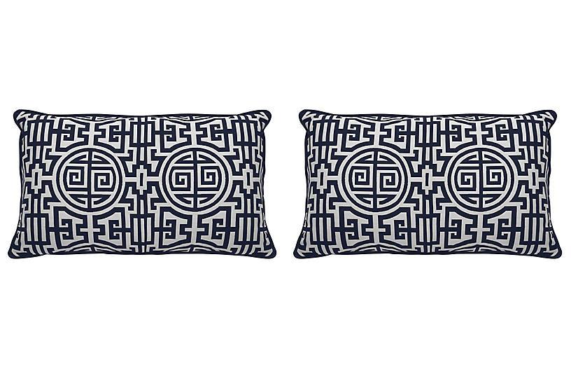 S/2 Nobu Outdoor Lumbar Pillows, Indigo/White