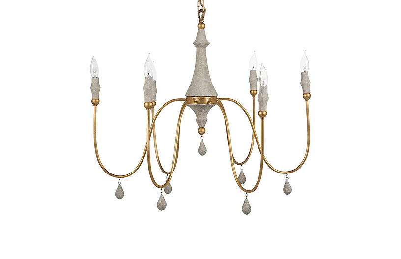 Clay Gold Chandelier, Small