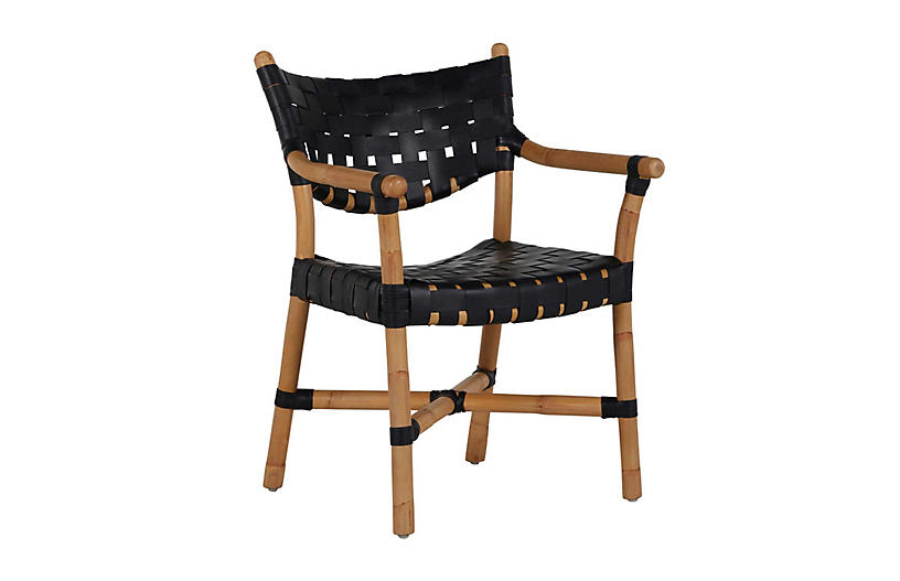 Morrison Rattan Arm Chair, Natural/Black