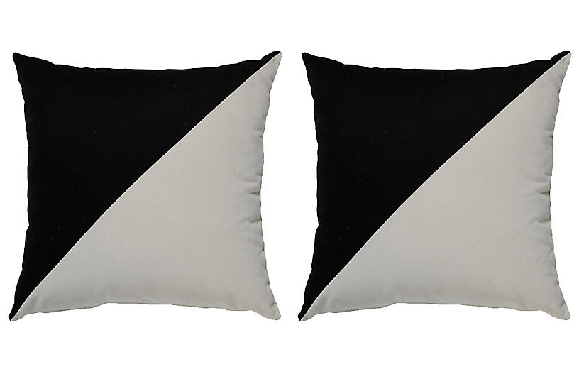 S/2 Diagonal Outdoor Pillows, Black/White